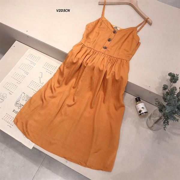 Váy 2 Dây 3 Cúc Ngực