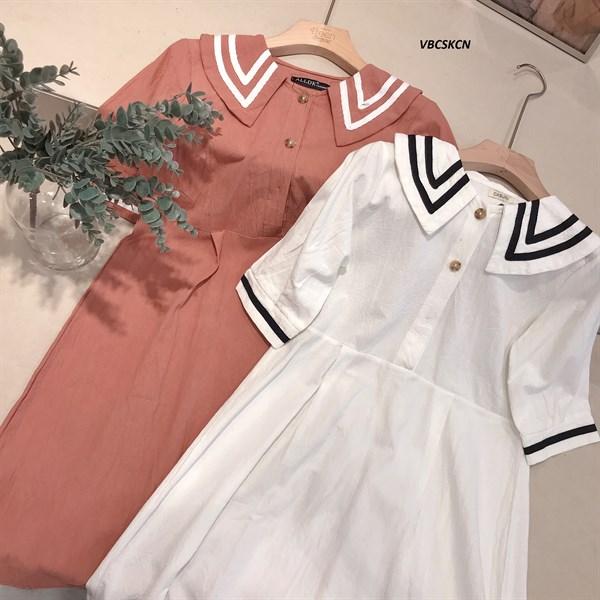 Váy BBD Cổ Sen Kẻ Cúc Ngực