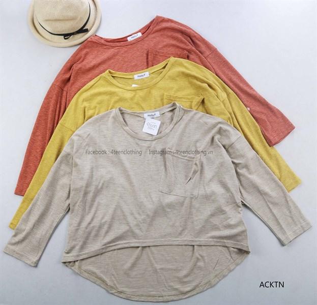 Áo Croptop Kẻ Túi Ngực
