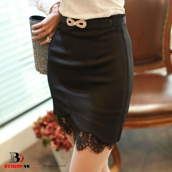 V0058 - Chân váy đẹp viền lưới Hàn Quốc