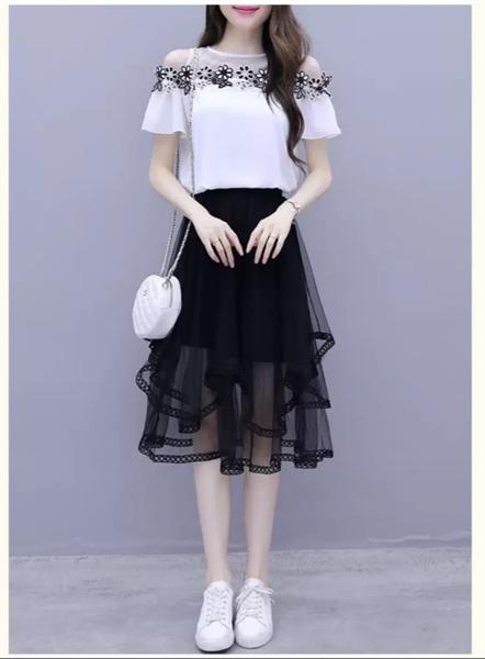 VL081 - Chân váy lưới 2 tầng thời trang