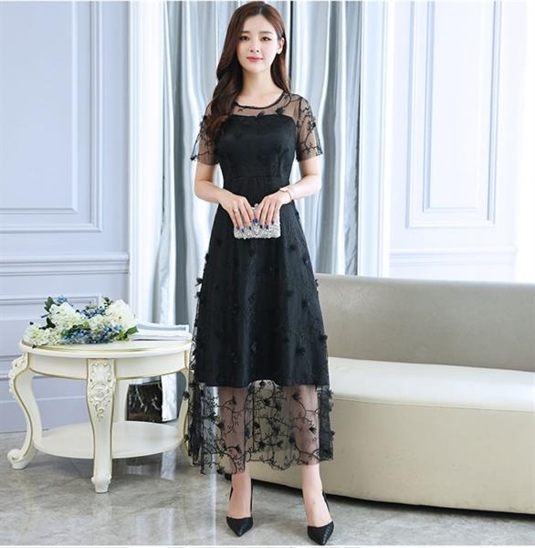 H0631 - Váy đầm dự tiệc tay ngắn thêu hoa cao cấp