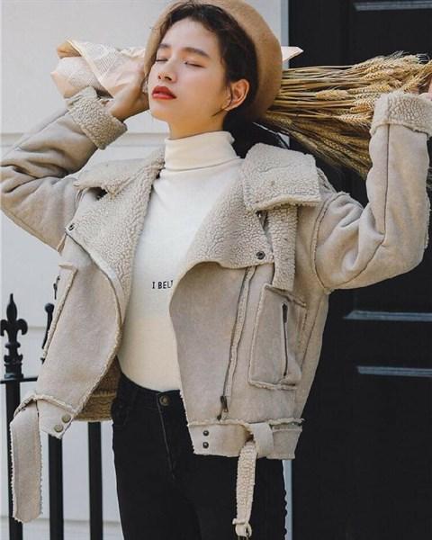 AK638 - Áo khoác nữ da thuộc phối len mùa đông cute