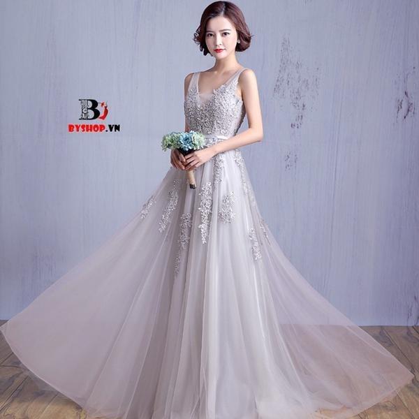H0605 - Đầm dạ hội ren voan xòe dài đẹp quý phái