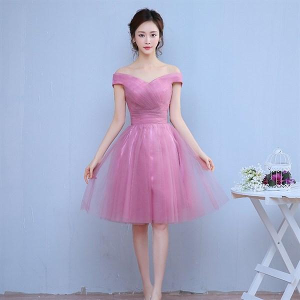D0746 - Đầm dự tiệc ngắn xòe màu hồng thắt dây lưng