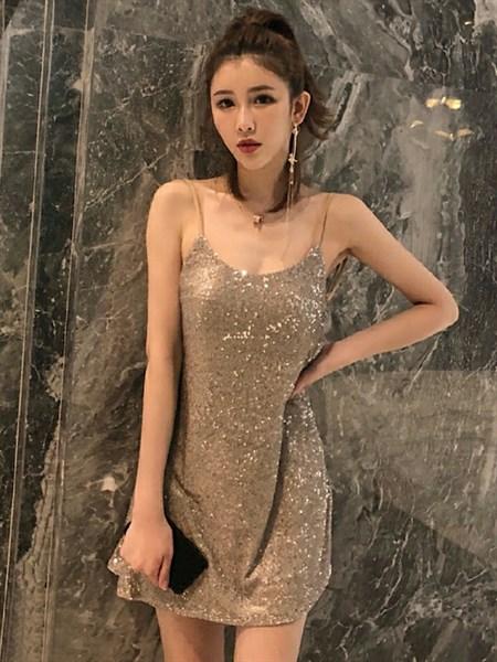 DM978 - Đầm dự tiệc cao cấp cổ tròn hở lưng thiết kế kim sa kiểu cách quyến rũ