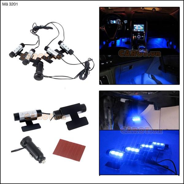 Bộ 4 đèn LED gầm để chân sáng xanh