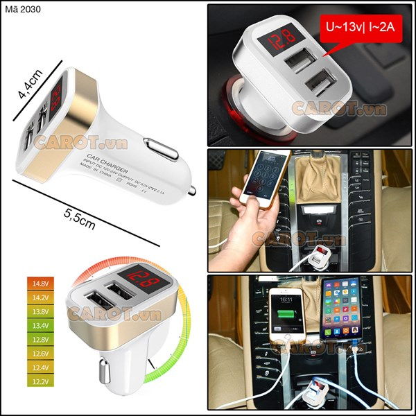 Tẩu đo điện bình chia 2 cổng USB