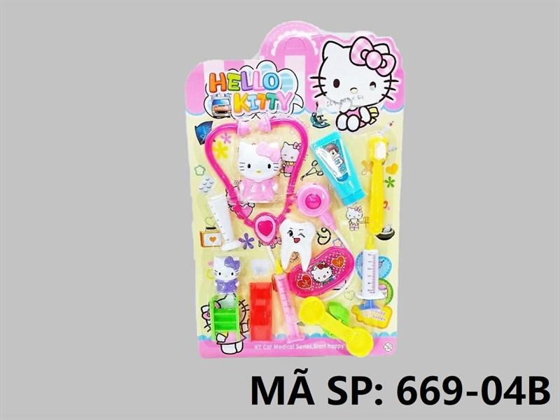 669-04B VĨ BÁC SĨ RĂNG + 2C MÈO KITTY + TAI NGHE, BÀN CHẢI, BẬP BÊNH, CẦU TUỘT Hello Kitty