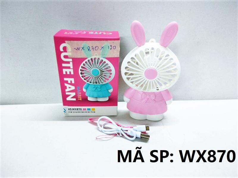 WX870 HỘP QUẠT BÀN PIN THỎ + SẠC USB + DÂY Cute Fan