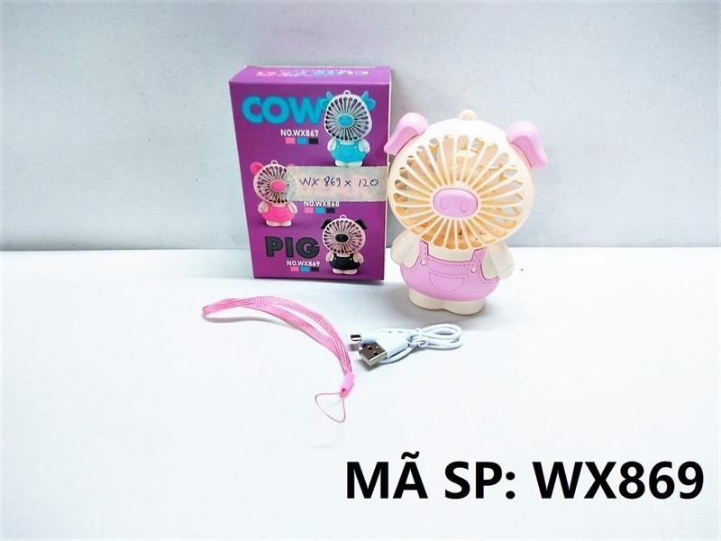 WX869 HỘP QUẠT BÀN PIN HEO + SẠC USB + DÂY Cute Fan WX867, WX868