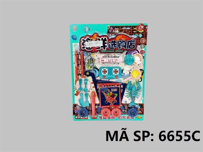 6655C VĨ BẾP XE ĐẨY SIÊU THỊ, BẾP GAS ĐÔI, TÔM, TÔM TÍT, NẤM, CHAI DẦU, NỒI, CHẢO, DĨA Seafood Shop