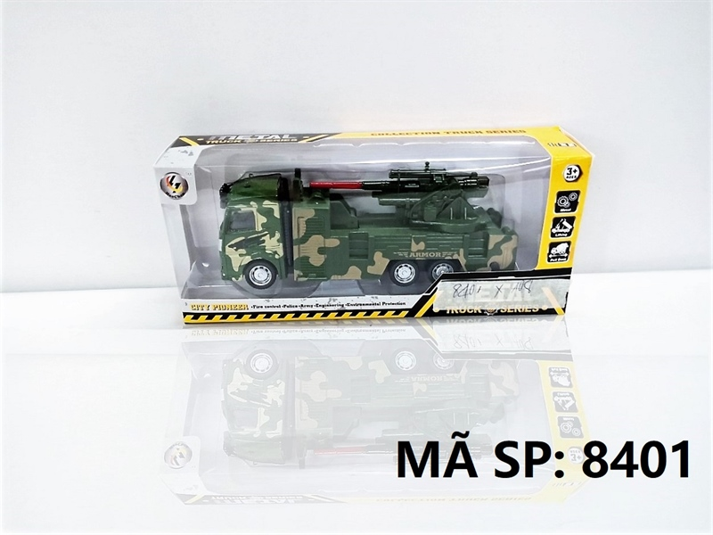 8401 HỘP XE TẢI QUÂN SỰ SẮT TRỚN (XANH) Metal Truck Series