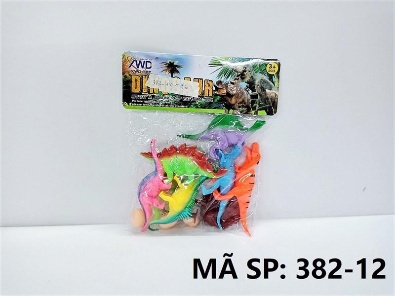 382-12 TÚI CHÍT THÚ KHỦNG LONG 6C + 3C TRỨNG (PVC) Dinosaur