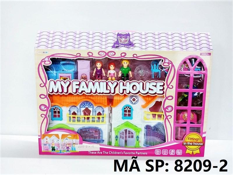 8209-2 HỘP NỘI THẤT NHÀ PIN ĐÈN + XE HƠI, NHÀ BẾP, 3 NGƯỜI My Family House