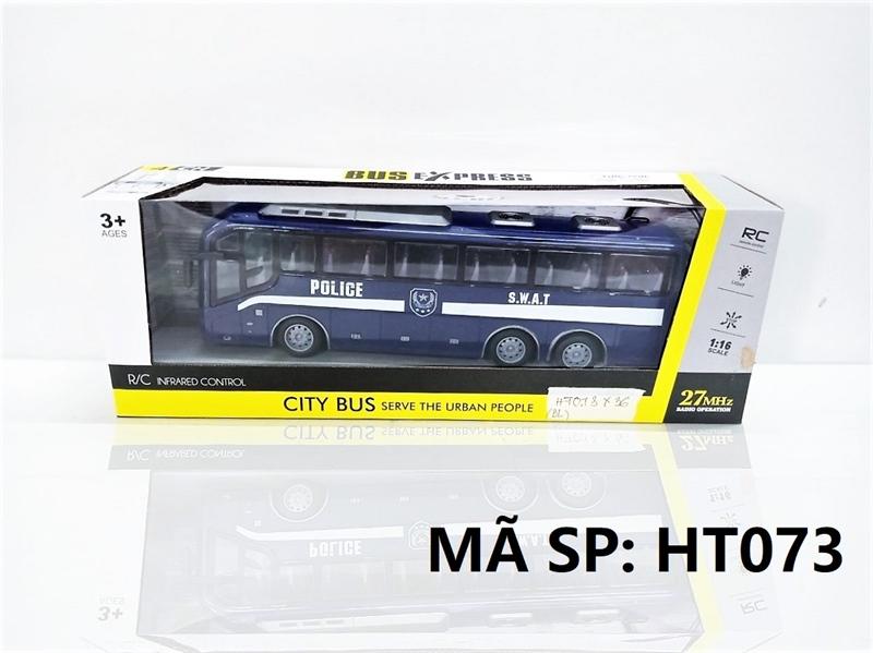 HT073 HỘP XE BUS (POLICE) ĐK 7 Đ.TÁC, KHÔNG SẠC TL 1:16 Bus Express HT070-HT076