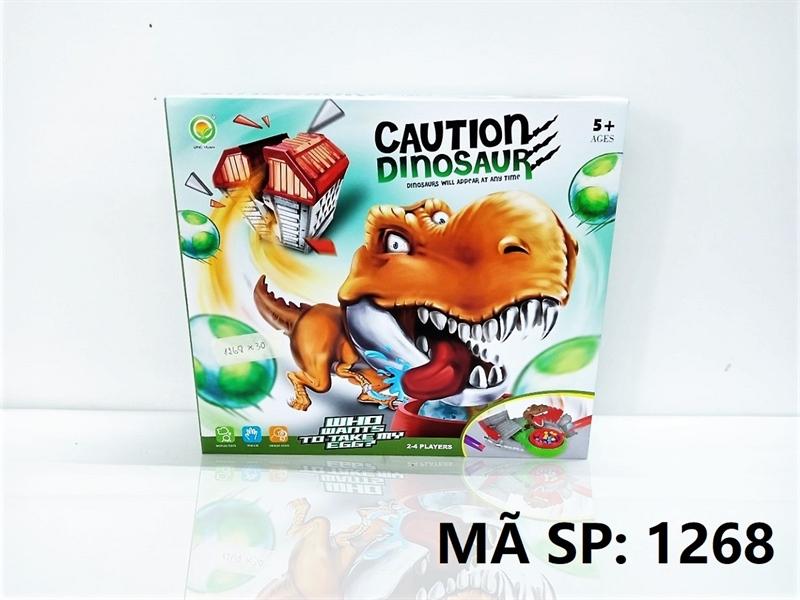1268 HỘP TRÒ CHƠI KHỦNG LONG CANH TRỨNG PIN Caution Dinosaur