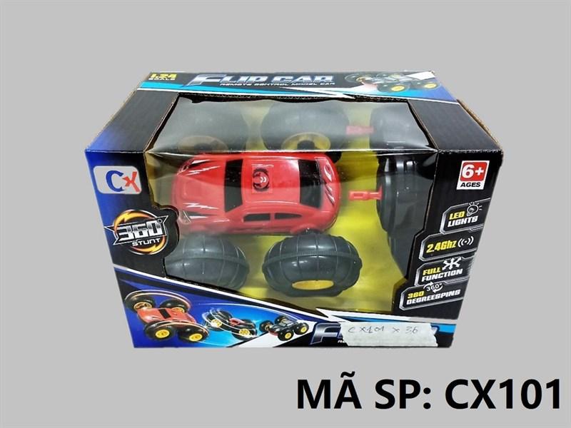 CX101 HỘP XE HƠI BÁNH LỚN ĐK 7 Đ.TÁC, KHÔNG SẠC, XOAY 360 ĐỘ TL 1:24 Flip Car