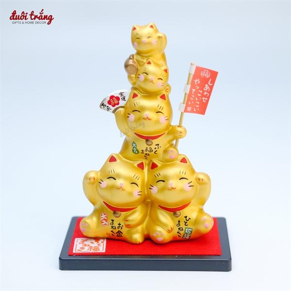 Set 5 Mèo Thần tài Yakushigama Gold Nhật cầm cờ - YSY-1373