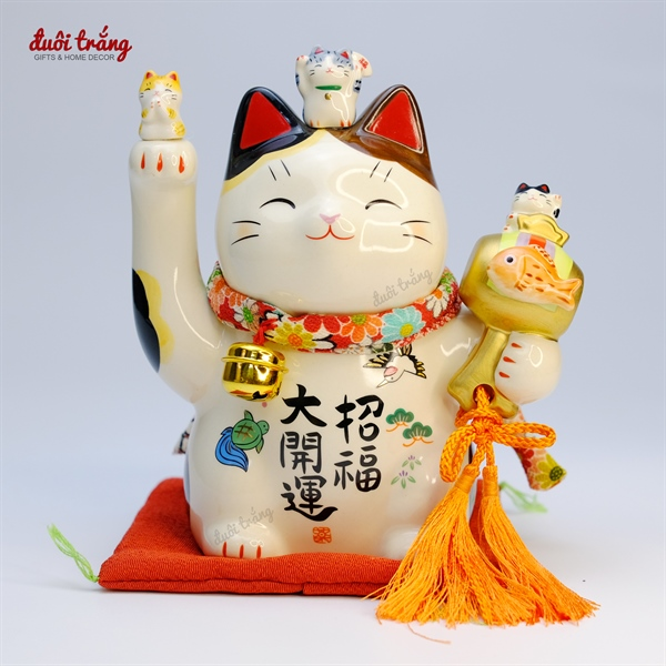 """Mèo Thần tài Yakushigama 14cm cầm búa cá KOI """"Đại Khai Vận Chiêu Phúc"""" YSY-7456"""