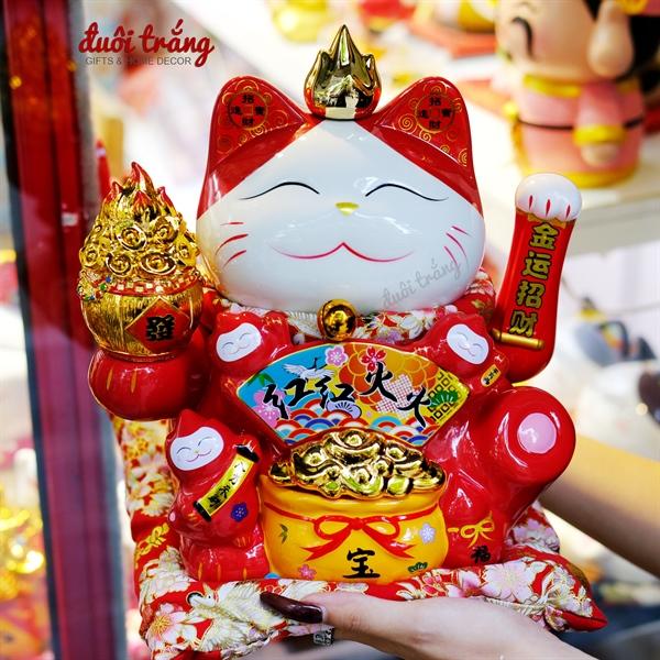 """Mèo thần tài Vẫy tay Đỏ Hũ tiền 27cm - """"Hồng Hồng Hỏa Hỏa"""""""