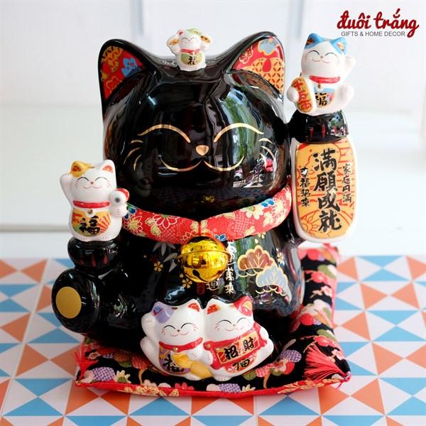 """Mèo Thần tài Jinshi Đen 25cm """"Thành Tựu Mãn Nguyện"""""""