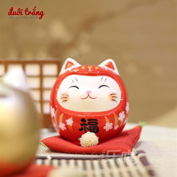 Daruma Mặt mèo Nhỏ 9cm - Đỏ - 7677