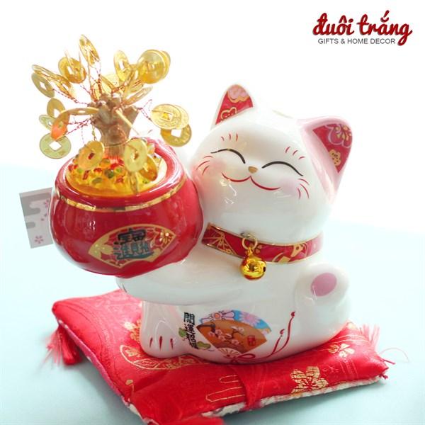 Mèo Thần tài Jinshi Ôm cây tiền Lớn 20cm