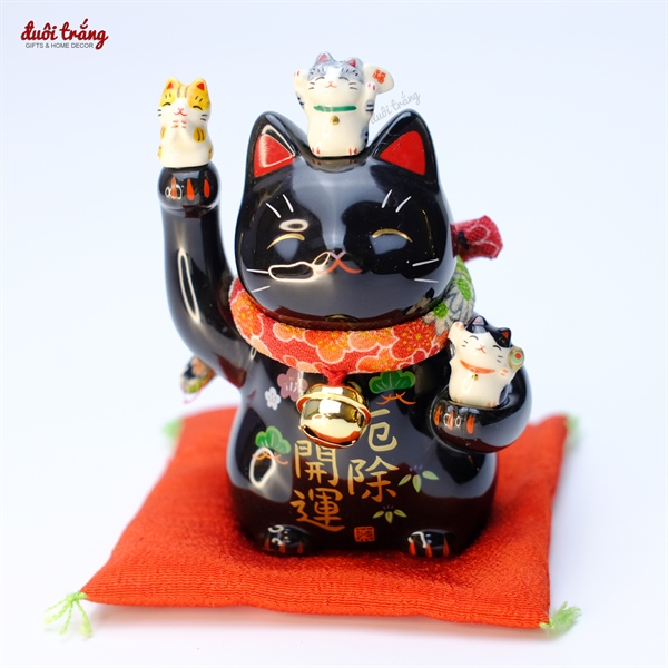 Mèo Thần tài Yakushigama 11,5cm cầm búa cá Koi - Đen - 7144BK