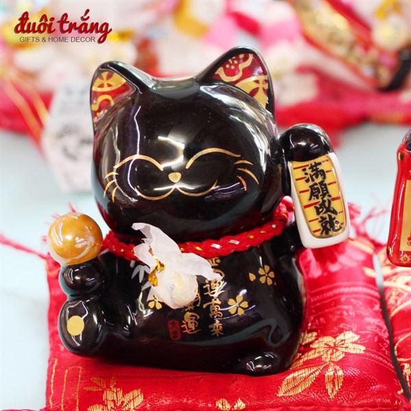 """Mèo Thần tài Jinshi Đen 9cm """"Thành Tựu Mãn Nguyện"""" - SC5024"""