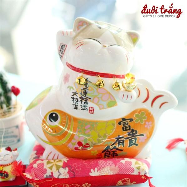 """Mèo Thần tài Jinshi 3 chuông Cá Chép """"Phú Quý Hữu Dư"""" 22cm"""