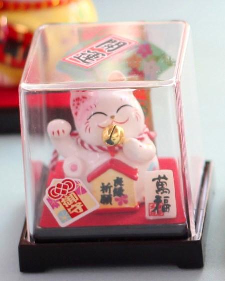 Mèo Thần tài Jinshi ngồi hộp 1 - Tai Hồng - C6007