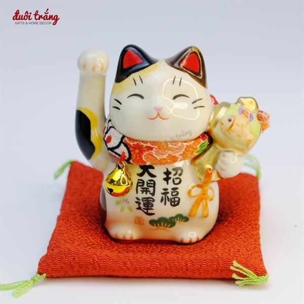 Mèo Thần tài Yakushigama 7cm cầm búa cá KOI YSY-7459