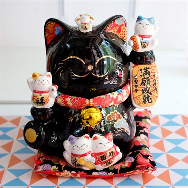 """Mèo Thần tài Jinshi Đen 20cm """"Thành Tựu Mãn Nguyện"""" - SC2072"""