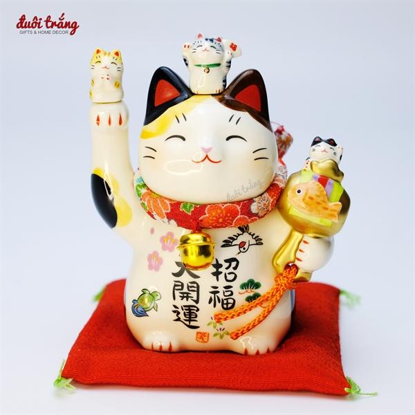 Mèo Thần tài Yakushigama 11,5cm cầm búa cá Koi - YSY-7457