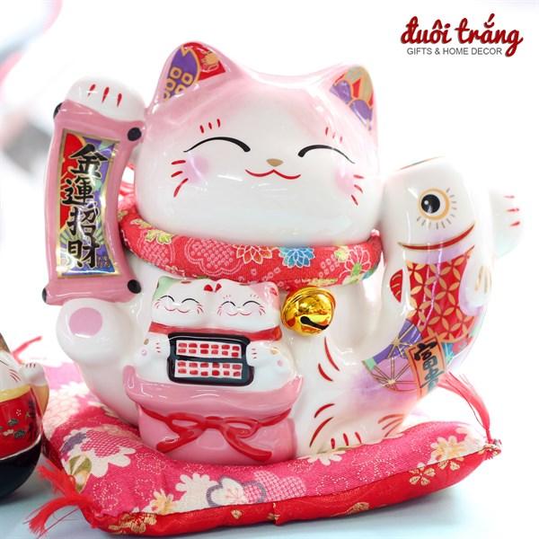 """Mèo Thần tài Jinshi Hồng Cá chép """"Kim Vận Chiêu Tài"""" 20cm"""