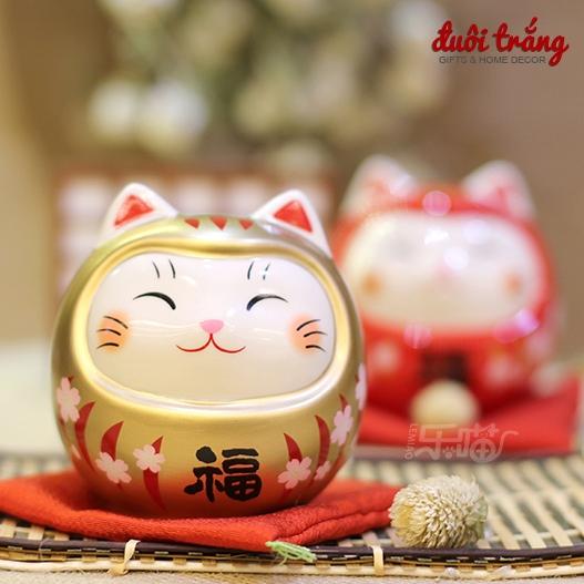 Daruma Mặt mèo Lớn 18cm - Vàng - 7676