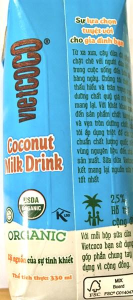 Sữa dừa Organic Vietcoco 330ml