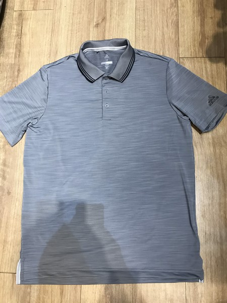Áo das golf xám viền cổ đen