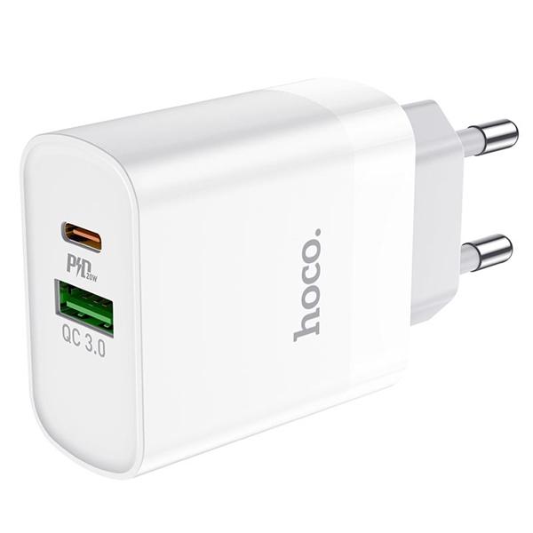 Cốc sạc nhanh 2 cổng Hoco C80A PD 20W Typec+USB - 6 tháng