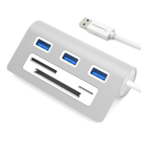3 Port Aluminum USB 3.0 Hub with Multi-In-1 Card Reader (12″ cable)