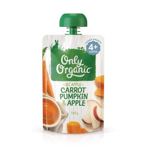 ONLY ORGANIC Thức ăn nghiền vị cà rốt, bí đỏ và táo 120g ( 4m+)