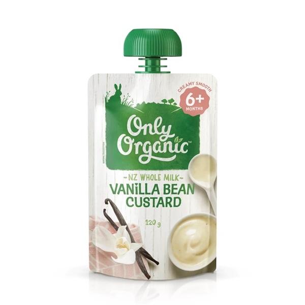 ONLY ORGANIC Váng sữa vị đậu, vani và sữa trứng 120g (6M+)