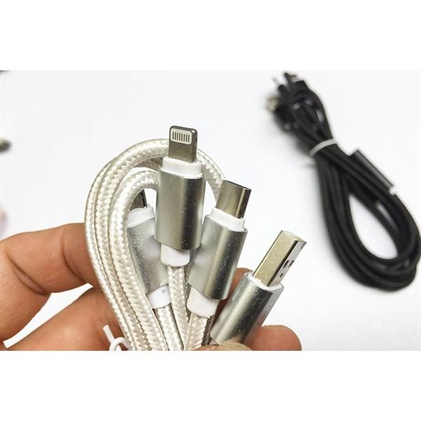 Cáp dây dù 3 đầu Iphone, Samsung, Type C