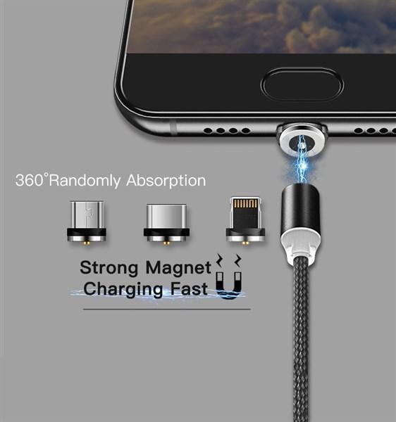 Cáp sạc từ hít nam châm dây dù 3in1 (Typec, Iphone, Micro)