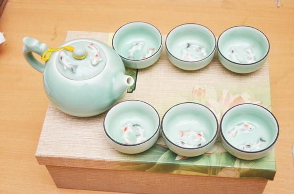Bộ ấm trà 3d hình cá