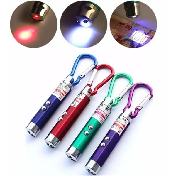 Móc khóa đèn pin laser có đèn soi tiền giả