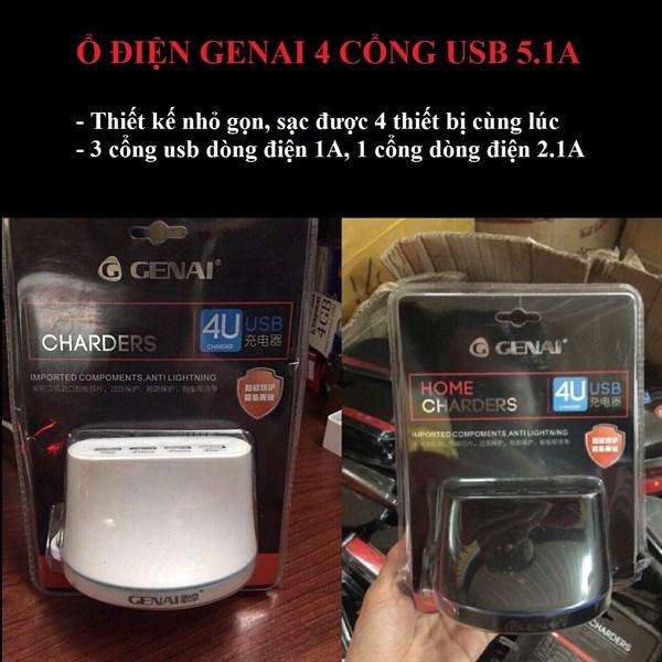 Ổ điện chính hãng Genai 4 cổng USB 5.1A