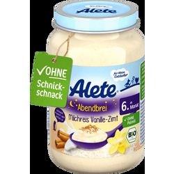 Hũ dinh dưỡng ăn liền Alete vị quế vani 190g - Abendbrei Milchreis Vanille-Zimt (6M+)