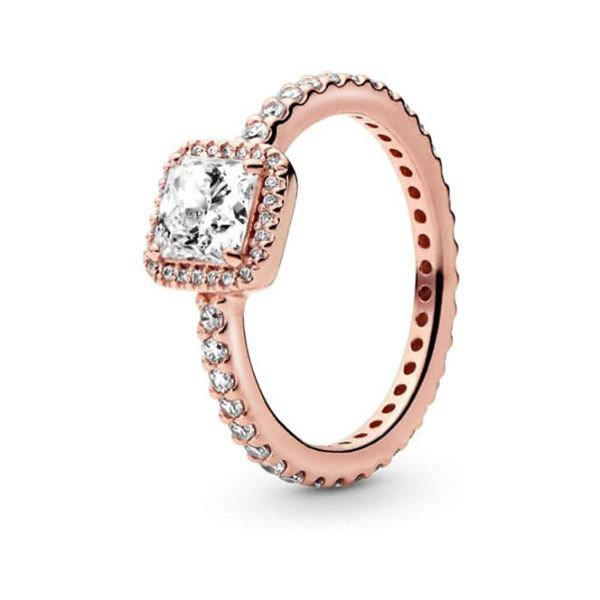 Square Sparkle Halo Ring Rosegold